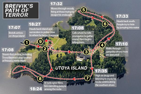 Breivik's Path of Terror on Utoya Island  مجزرة أوتويا: ماذا حدث في 22 يوليو؟ mapterror