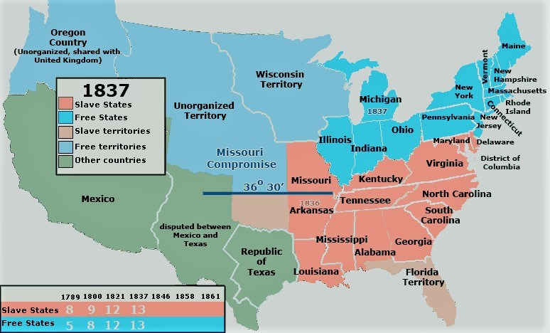 Map Of Us Slave States Maps: Free and Slave States & Territories 1837 54