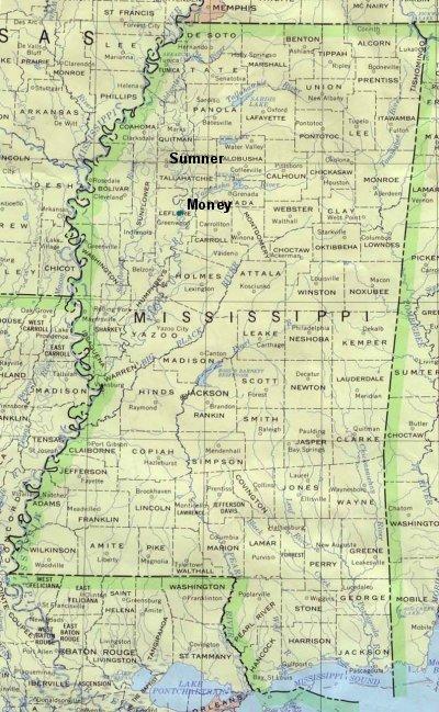 Money Mississippi Map The Murder of Emmett Till: Maps