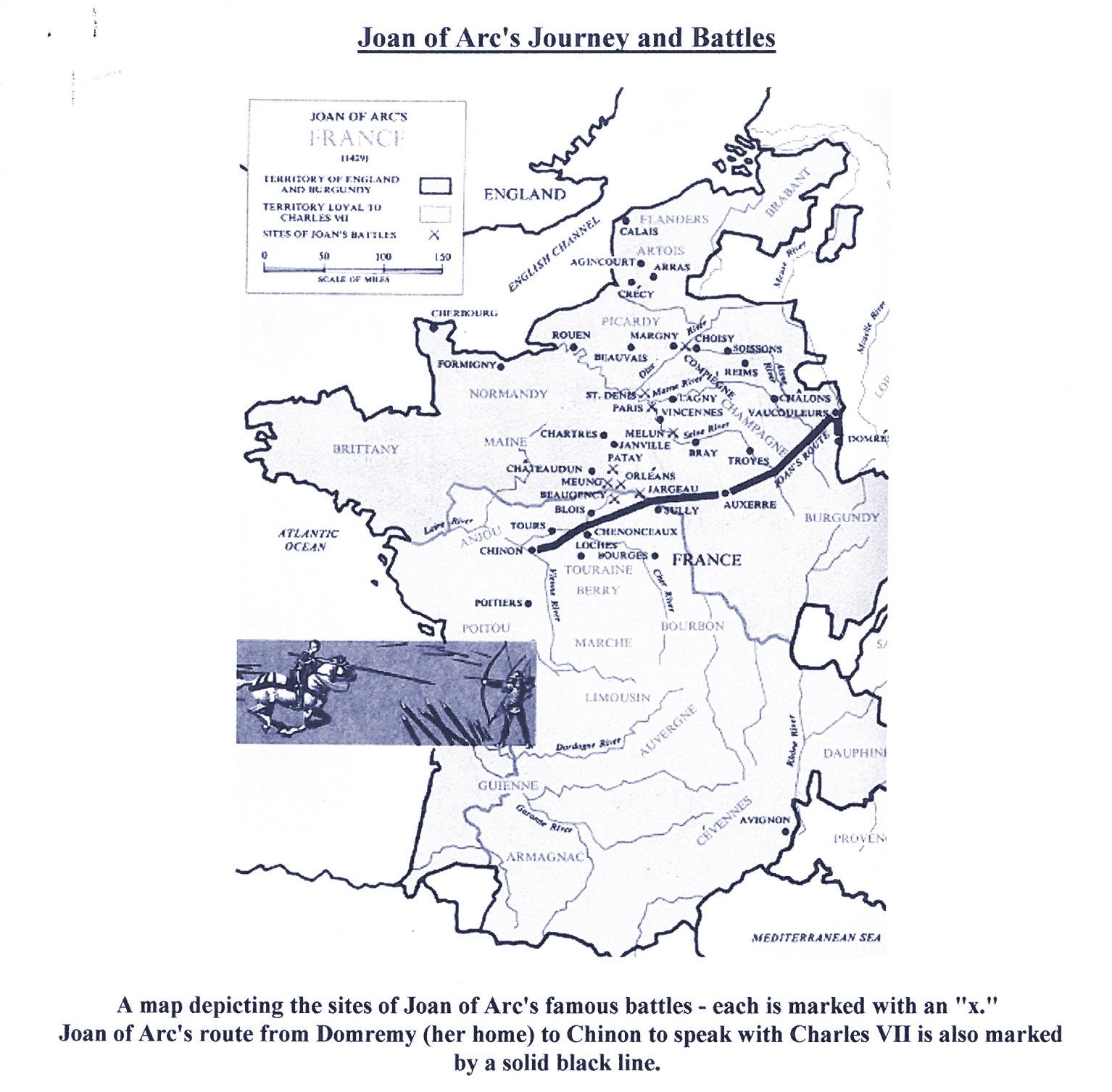 map of joans journey and battles